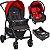 Carrinho de Bebe com Bebe Conforto e Base Burigotto Ecco Cinza Vermelho - Imagem 1