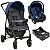 Carrinho de Bebe com Bebe Conforto e Base Burigotto Ecco Cinza Azul - Imagem 1
