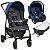 Carrinho de Bebe com Bebe Conforto e Ninho Burigotto Ecco Cinza Azul - Imagem 1