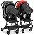 Carrinho de Gemeos Galzerano Duolee 2 Bebe Conforto Base Preto Vermelho - Imagem 3
