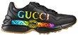 GUCCI Tênis Rhyton de couro com logo - Imagem 1