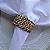 Guardanapo de Tecido Branco com Porta Guardanapo Trançado Dourado – 4 pessoas - Imagem 2