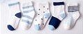Kit 5 pares de meias azul e branco - Imagem 1