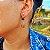 Brinco Capim Dourado C/ Pedra Natural Olho de Tigre Azul Cód. B409 - Hipoalergênico - Imagem 1