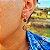 Brinco Capim Dourado C/ Pedra Natural Olho de Tigre Cód. B410 - Hipoalergênico - Imagem 1