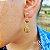 Brinco Capim Dourado C/ Pedra Sol Cód. B405 - Hipoalergênico - Imagem 1