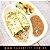Omelete Recheado com Frango Cremoso + Arroz Integral + Feijão Carioca + Mix Vegetais Salteados (350 Gramas) - Imagem 1