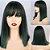 Peruca Média Fibra Orgânica Ombre Hair Verde com Franja - Imagem 1