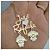 Colar 2 nomes simples coração e 2 bonecos pendurados personalizados ouro semi joia folheada - Imagem 1