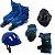 Roller Patins In Line + Capacete + Kit Proteção Tamanho M (30 Ao 33 ) Radical Cor Azul - BLX8 3652 - Imagem 1