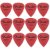 Kit Com 12 Palhetas Fender Rock On Vermelha 0.50mm - Imagem 1
