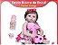 55cm reborn bebê boneca menina com olhos azuis moda fibra cabelo corpo silicone pode dar banho - Imagem 1