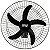 Ventilador de Parede Preto 135W Bivolt com 5 Pás Rajada Pro 60 - WAP-FW006661 - Imagem 2