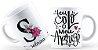 Caneca Floral Alfabeto Letra S - Imagem 1