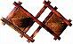 Vaso Artesanal Rústico de Parede Grande Duplo - Madeira e Fibra de Coco - 1,3m x 82cm  - Imagem 2