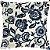 Capa Almofada Veludo Floral Azul e Cinza - Imagem 1