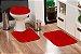Jogo Banheiro Tapete Microfibra - Vermelho - Imagem 1