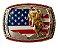 Fivela Para Cinto Country De Zamac Touro Bandeira Stars 10624 - Imagem 1