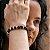 Pulseira Purana Ágata Preta e Howlita Bege Rondel 8mm - Imagem 3