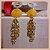 Brinco com Pedra Natural Jade Amarela e Correntes - Banho Ouro 18K - Semijoia de Luxo - Imagem 2