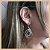 Brinco Luxo Vazado com Zircônia Cristal - Banho Ródio Negro - Semijoia de Luxo - Imagem 3