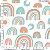 Tecido 100% algodão - Estampa Arco Íris 0,50 metro - Imagem 1