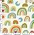 Tecido 100% algodão - Estampa Arco Íris Fundo Claro 0,50 metro - Imagem 1