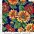 Tecido 100% algodão - Estampa Girasol Fundo Azul Marinho- 0,50 metro - Imagem 1