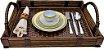 Bandeja  decoração mesa e servir em junco e couro  - Imagem 4