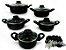 Conjunto De Caçarola 5 Peças Para Sua Cozinha Antiaderente Com Tampa de Vidro  e Talheres - Imagem 2