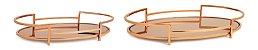 Bandeja Dourada em Metal com Espelho Cobre - Imagem 1