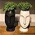 Vaso Rosto Em Porcelana Preto 16cm  - Imagem 2