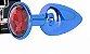 Plug Metálico Azul Com Pedra Vermelha  Tam P  HA118A - Imagem 8