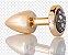 Plug Anal Less  P Dourado Com Pedra Cravejada Onix HA143DP - Imagem 3