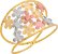 Anel Flores Tricolor Aro Duplo Ouro 18k 750 - Imagem 1