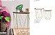 Mesa Lateral Decorativa Tampo Madeira  Aramado Dourado 2unid - Imagem 3