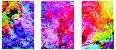 Kit 3 Quadros  em Tecido Canvas abstrato - Imagem 2