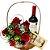 Cesta de Rosas com Vinho e Ferrero Rocher - Imagem 1