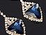 Brinco de Prata Geométrica com Gotas de Esmeraldas - 2 Cores - Imagem 2