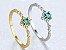 Anel de Prata Banhado a Ouro 18k com Pedra Preciosa de Zircão cor Verde - Imagem 2