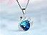 Colar em Ouro 18k Estilo Fashon com pedra de Cristal Coração Azul - Imagem 2