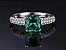 Conjunto de Esmeraldas com Colar Brincos e Anel de Prata cor Verde - Imagem 3