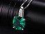 Conjunto de Esmeraldas com Colar Brincos e Anel de Prata cor Verde - Imagem 4
