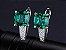 Conjunto de Esmeraldas com Colar Brincos e Anel de Prata cor Verde - Imagem 5