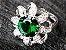 Conjunto de Jóias de Prata com Colar Brinco Pulseira Anel cor Verde - Imagem 3