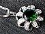 Conjunto de Jóias de Prata com Colar Brinco Pulseira Anel cor Verde - Imagem 2