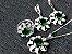 Conjunto de Jóias de Prata com Colar Brinco Pulseira Anel cor Verde - Imagem 1
