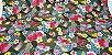 Hand Fan Flowers. Tec.Douradinho Japonês. TI051  (50cm x 55cm) - Imagem 1