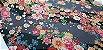 Flower Black Gray. Algodão Japonês - 50x55cm - Imagem 2