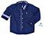 Camisa Arthur - Azul Marinho poá com detalhes floral - Imagem 1